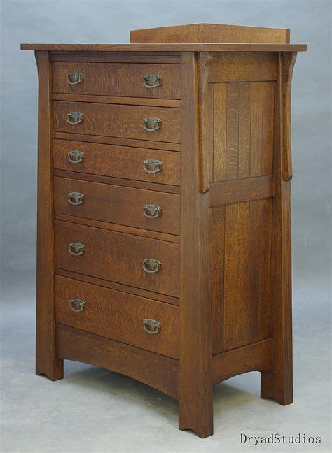 6 drawer oak and crafts dresser sculpture by dryad studios