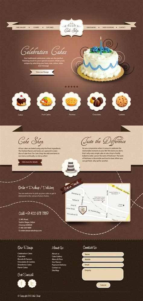 layout web shop 50 impressive designs of coffee cake and bakery websites