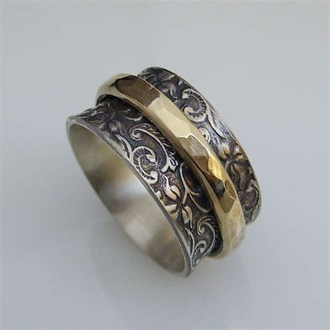 Handcrafted Gold Rings - sterling silver gold spinning ring handcrafted artisan