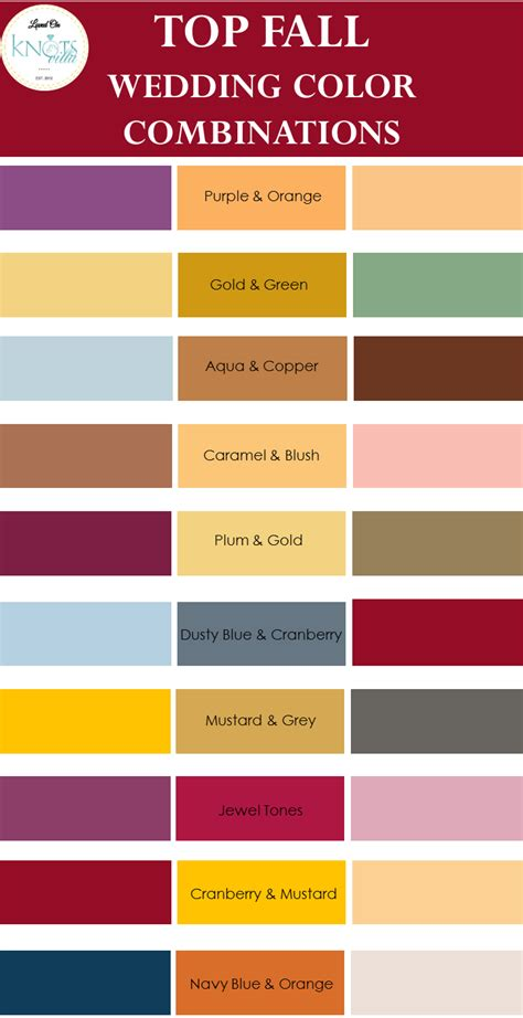 popular color combinations top fall wedding color combinations knotsvilla