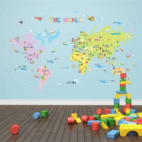 Childrens Room Wall Stickers dw 1203 multicoloured world map wall stickers kids wall