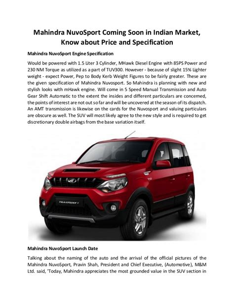 mahindra nuvosport coming soon in indian market