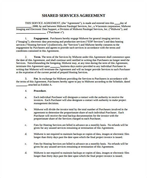 shared service agreement template service agreement 9 free pdf word documents