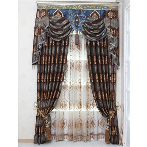 vintage drapes and curtains luxury chenille wine dark blue floral jacquard vintage