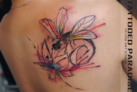 dragonfly lotus watercolor by dopeindulgence on