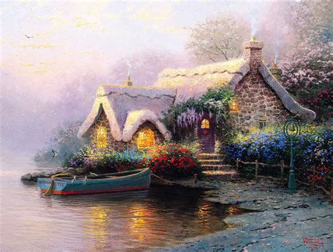 Cottage Paintings By Kinkade by Cottages