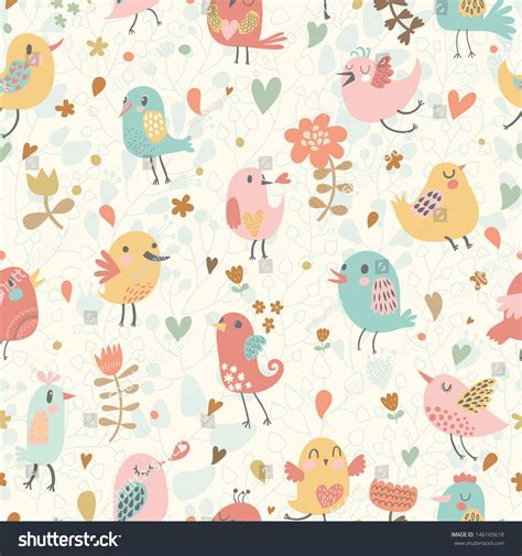 cute pattern passwords cute seamless pattern small birds flowers stock vector