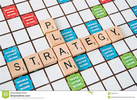 is et a scrabble word strategy plan stock photo image of development