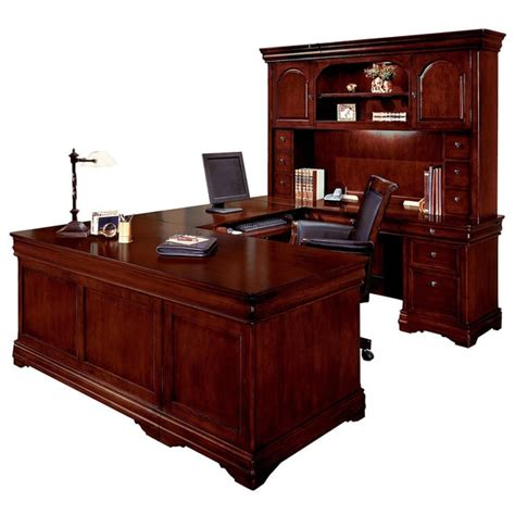 U Office Desk Dmi Furniture Rue De Lyon Executive Overhead Hutch U Desk Office 15945272 Overstock