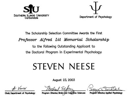 the pulfrich effect scholarship certificate of 2003