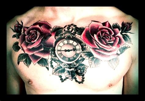 rose tattoo chest piece roses buds and ornate pocket chest