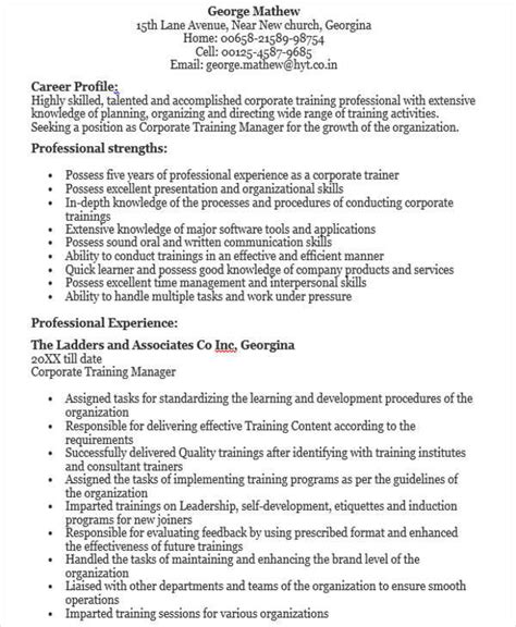 corporate resume sles corporate trainer resume exles 28 images corporate