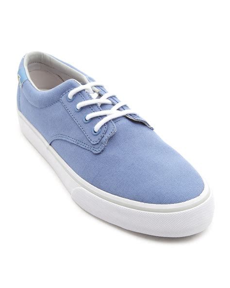lacoste l ive barbados gp blue canvas sneakers in blue for
