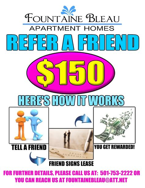 A Referral Flyer I Made For Our Current Residents Refer A Friend To Fountaine Bleau Apartment Referral Program Flyer Template
