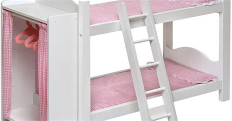 Doll Bunk Beds With Ladder And Storage Armoire Badger Basket Doll Bunk Bed With Ladder And Armoire Fits Most 18 Quot Dolls My As