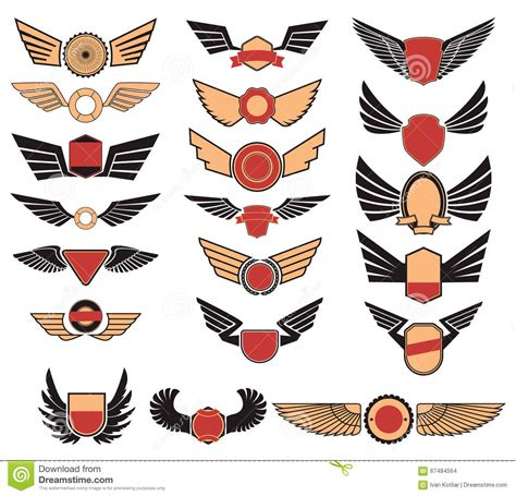 set of the vector emblems with wings stock vector image