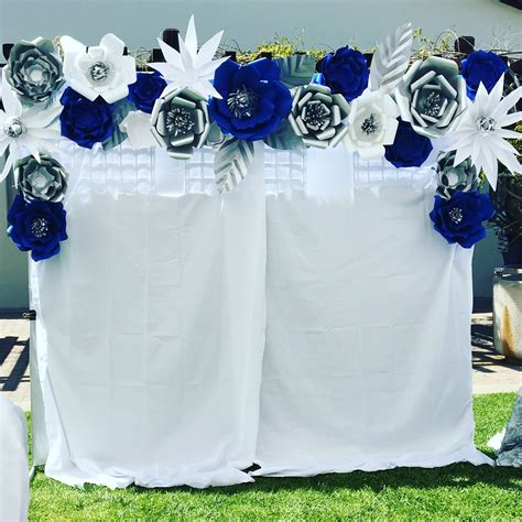 And Silver Wedding Flower Ideas by Photo Booth Royal Blue Silver And White Wedding Decor