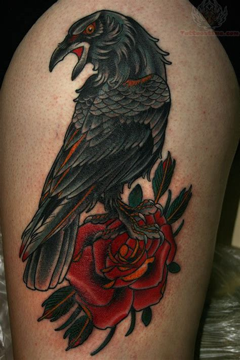 red rose and raven tattoo