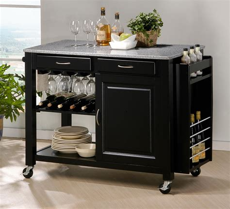 Kitchen Island Bar Modern Black Kitchen Island Cart Cabinet Wine Bottle Glass Rack Granite Top New Ebay