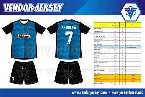 jersey futsal desain depan belakang kerah pembuatan kaos futsal dengan kombinasi warna biru hitam