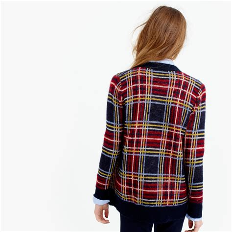 Plaid Sweater lyst j crew brushed wool blend plaid cardigan sweater in