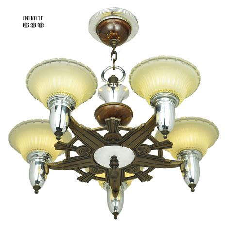 Art Deco Streamline Style Chandelier Antique 5 Light Style Ceiling Light Fixture