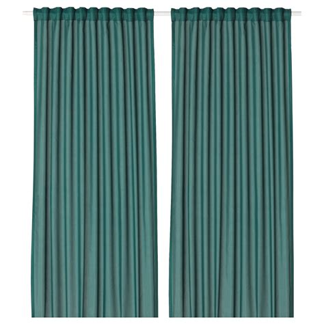 blue green drapes vivan curtains 1 pair green blue 145x250 cm ikea