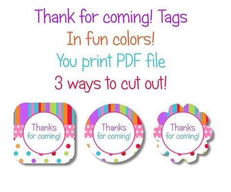 Fun Rainbow Colors Thank You Tags Thanks For Coming Thank You For Coming Tags Template