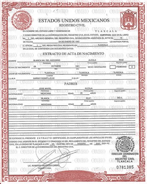 mexican birth certificate template best photos of downloadable birth certificate translation