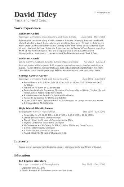 Cross Country Coach Resume by Assistant Coach Resume Sles Visualcv Resume Sles