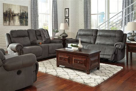 austere power reclining sofa austere gray reclining living room set from ashley