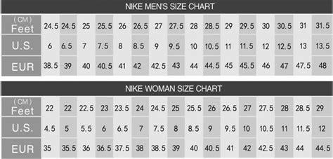 shoe size chart world of reference