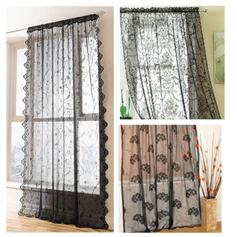 black lace curtains vintage black slot top vintage lace window panels net curtains