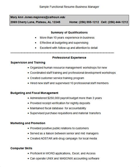 Functional Resume Sle Template Resume Ideas