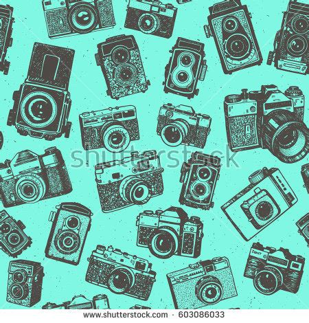 pattern background camera hand drawing retro photo cameras on stock vector 603086033