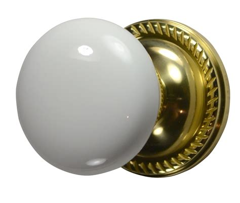 Porcelain Interior Door Knobs by White Porcelain Door Knob Polished Brass Georgian Roped Plate
