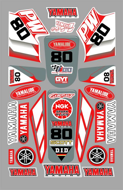 Yamaha Sticker Kits Australia by Yamaha Pw80 Decal Sticker Kit Red