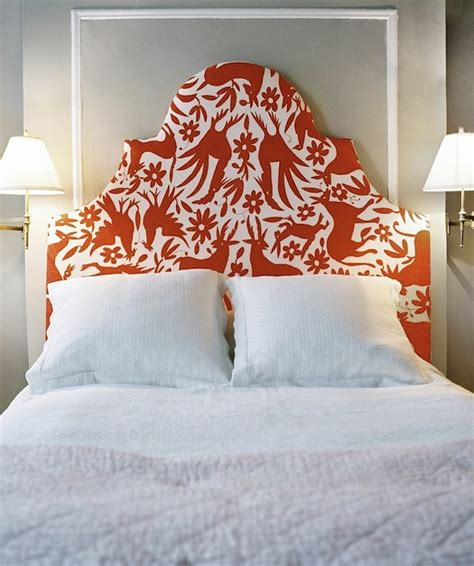 red fabric headboard otomi fabric headboard contemporary bedroom lonny