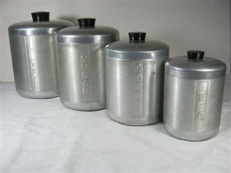 vintage aluminum canisters set 4 retro 50s kitchen by