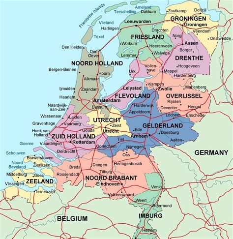 netherlands map and cities detailed administrative map of netherlands with major