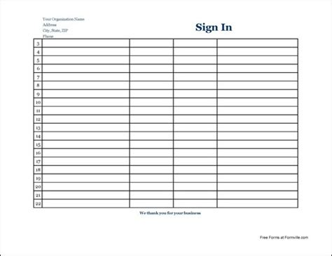 free basic company appointment sign in sheet wide from