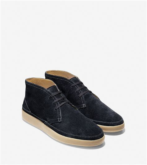 cole haan ridley suede chukka boots in black for