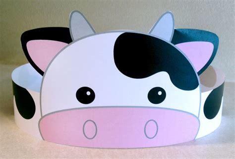 printable animal headbands cow paper crown printable