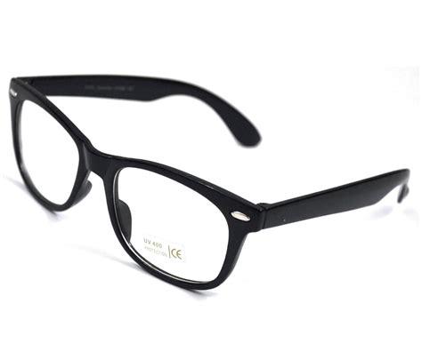 vtg clear lens black frame glasses sunglasses new bnwt