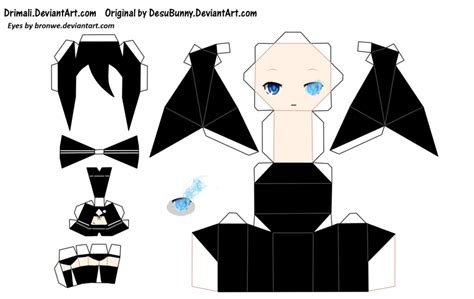 Black Rock Shooter Papercraft - black rock shooter papercraft template by bronwe on deviantart