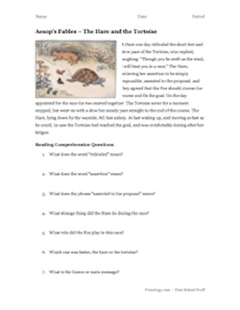 Fables Comprehension Worksheets by Aesop S Fables Reading Comprehension 4 Freeology