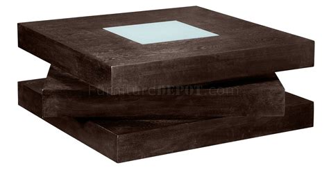 chocolate finish square shape modern coffee table w glass