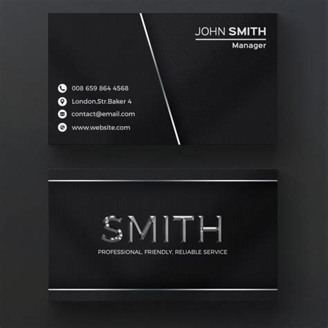 free black background business card template metallic business card psd file free