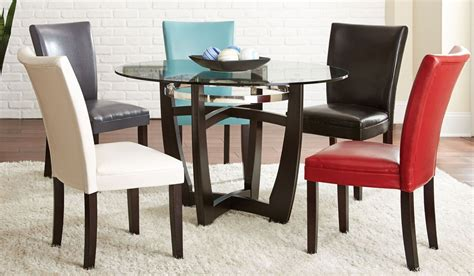 carolyn glass top round dining room set from steve silver matinee glass top round dining room set from steve silver