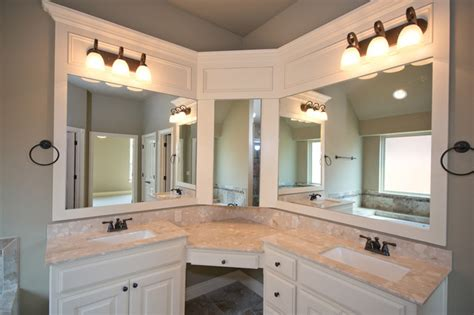 master bathroom vanities double sink master bath with corner vanity and double sinks transitional bathroom oklahoma